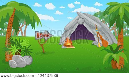 Ancient Stone House In Field With Campfire. Primitive Dwelling Of Cavemen, Palm Trees, Word Home On