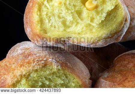 Beautiful Cornbread Close-up On. Art Bread. Corn Bread.