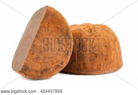 Chocolate Truffles Are Whole And Half Are Isolated On A White Background.