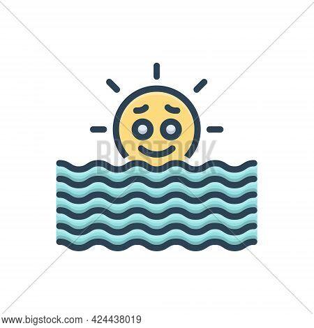 Color Illustration Icon For Sea Ocean Briny Deep Marine Nautical Sun-rise
