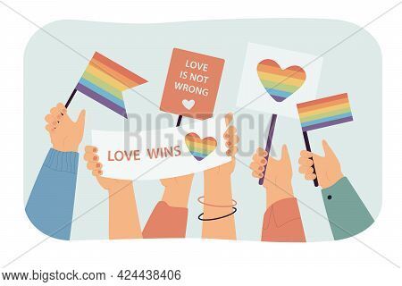 Multiple Hands Holding Rainbow Flags And Banners. Flat Vector Illustration. Parade In Support Of Ide