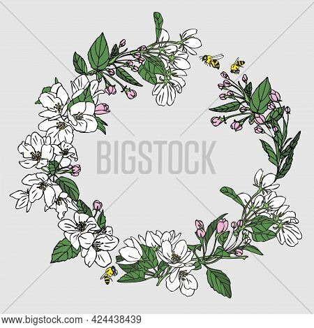 Flower Wreath For Your Text Presentation. Flower Card With Apple Flowers And Bees. Delicate Flowers