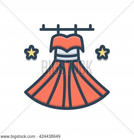 Color Illustration Icon For Dress Costume Attire Clothes Weft Habiliments Wearable