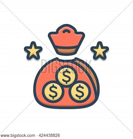 Color Illustration Icon For Finance Economy Currency Wage Emolument