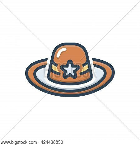 Color Illustration Icon For Hat Cap Headgear Mutch Detective