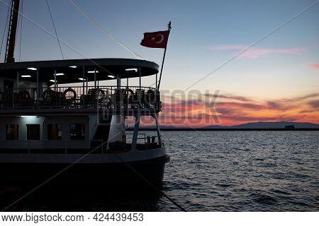 Ferry In Port, Gulf Of Izmir, Turkey