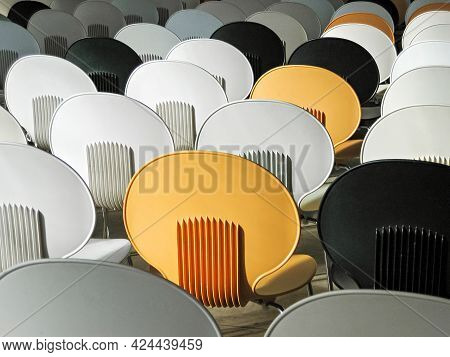 Empty Auditorium. The Backs Of Chairs In An Empty Auditorium.