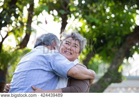 Happy Elderly Southeast Asian Couple Embracing In Park On Sunny Day, Senior Couple Anniversary Or Lo