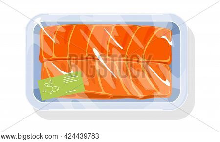 Cartoon Of Oily Delicious Fish Fillet In Tray, Raw Ocean Product. Vector Fresh Meat Steaks For Cooki