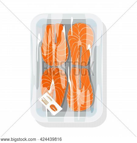 Cartoon Of Fresh Salmon Steak For Further Cooking, Raw Delicious Red Fish. Vector Protein Full Healt