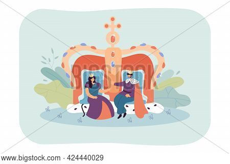 Cartoon King And Queen Sitting On Thrones. Royal Characters With Huge Crown In Background Flat Vecto
