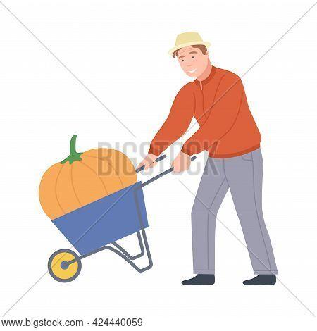 Male Farmer Pushing Wheelbarrow With Mature Pumpkin Vector Illustration