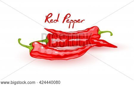 Chili Hot And Extremely Food, Mexican Cuisine, Whole Pepper Pots. Vector Farm Organic Product, Veget