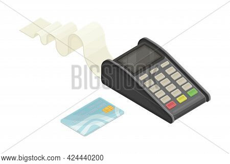 Payment Terminal With Cheque And Plastic Card As Financial Accounting And Summary Isometric Vector C