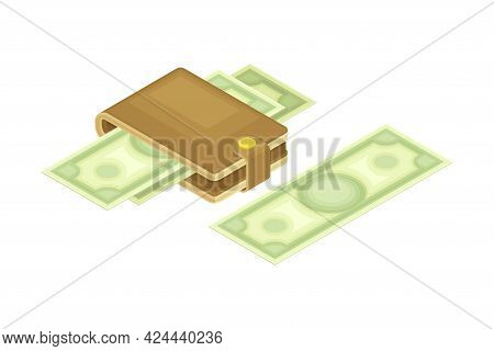 Wallet With Dollar Banknote As Financial Accounting And Summary Isometric Vector Composition