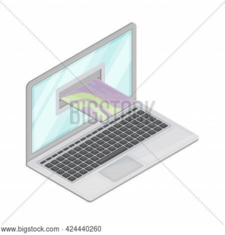 Laptop With Inserted Plastic Or Credit Card As Financial Accounting And Summary Isometric Vector Com