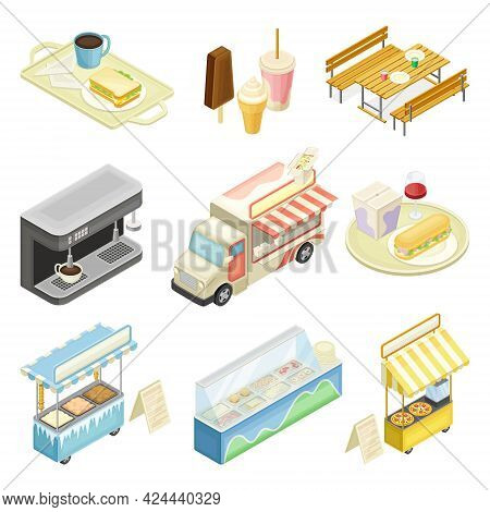 Food Court With Counters Of Multiple Food Vendors And Self-serve Dinner Area Isometric Vector Set