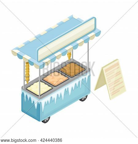 Ice Cream Counter As Outdoor Food Court Or Food Vendor Selling Refreshing Dessert Isometric Vector I