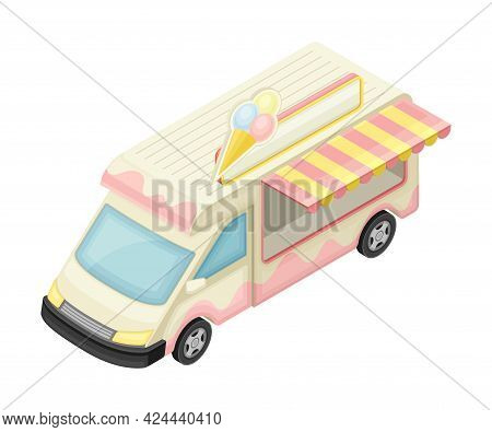 Van As Outdoor Food Court Or Food Vendor Selling Ice Cream Isometric Vector Illustration