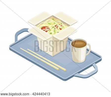 Tray With Noodle In Carton Box And Coffee From Food Court As Self-serve Dinner Isometric Vector Illu