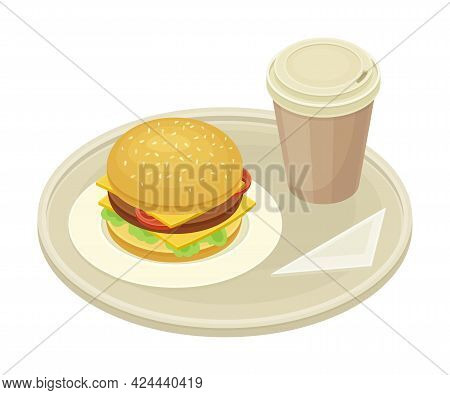 Tray With Hamburger And Coffee From Food Court As Self-serve Dinner Isometric Vector Illustration