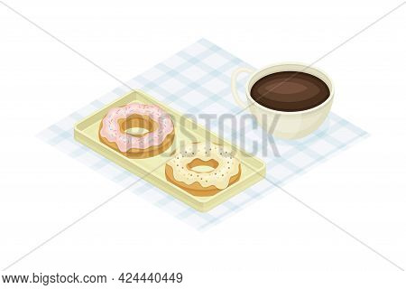 Tray With Doughnut And Coffee From Food Court As Self-serve Dinner Isometric Vector Illustration