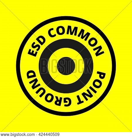 Ground Icon, Sign. Electrical Symbol Isolated On Yellow Background. Esd, Epa. Common Ground Point. E