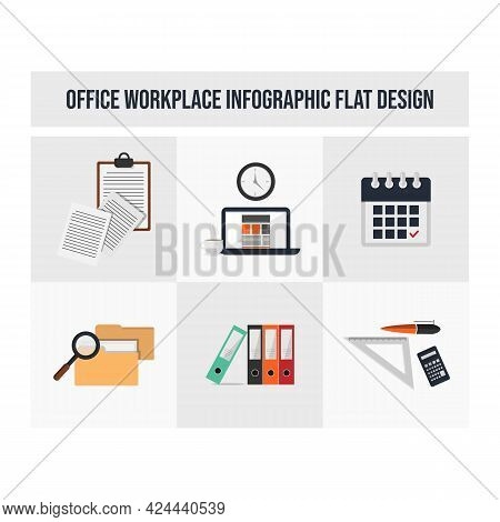 Workspace Workplace Vector Flat Icon Concept Symbols For Web Infographic Design. Workplace Or Worksp