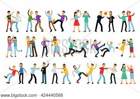 Warring People Character Fighting And Yelling At Each Other Vector Illustration Set