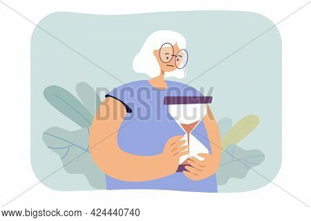 Sad Old Woman Holding Hourglass. Elderly Character Watching Time Pass Flat Vector Illustration. Time
