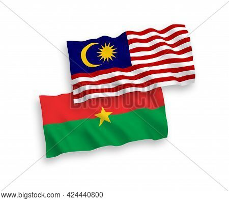 National Fabric Wave Flags Of Burkina Faso And Malaysia Isolated On White Background. 1 To 2 Proport