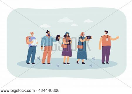 Excursion Group Following Guide With Gadgets And Map. Flat Vector Illustration. Happy Tourists Trave
