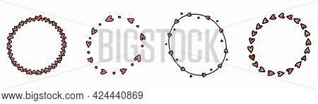 Hand Drawn Love Frame. Romantic Circle In Doodle Style. Hand Drawn Circle In Hearts. Art Illustratio