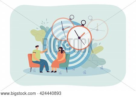 Psychotherapist Holding Pocket Watch In Front Of Patient. Female Cartoon Character At Hypnosis Sessi
