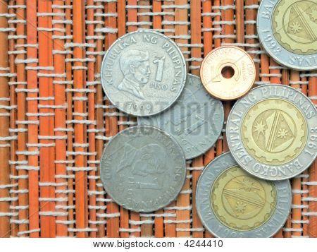 Peso Coins On Mat