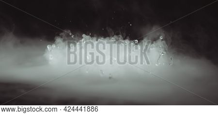 Abstract Banner. Real Mystic Smoke Cloud With Water Drops Blast, Steam Fly Motion, Dark Background.