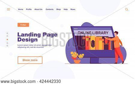 Tiny Man Choosing Book In Online Library. Screen, Internet, Network Flat Vector Illustration. Digita