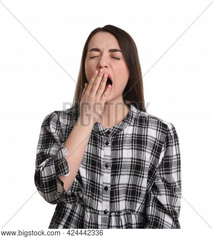 Portrait Of Bored Young Woman On White Background. Personality Concept