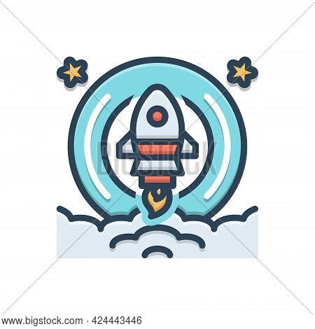 Color Illustration Icon For Launch Rocket Start Begin Startup Technology