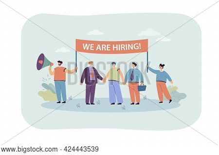 Happy Hr Managers Looking For New Employees. Flat Vector Illustration. Business Team With Banner Inv