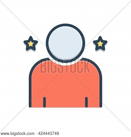 Color Illustration Icon For Individual Person Personage Human Anthropomorphic