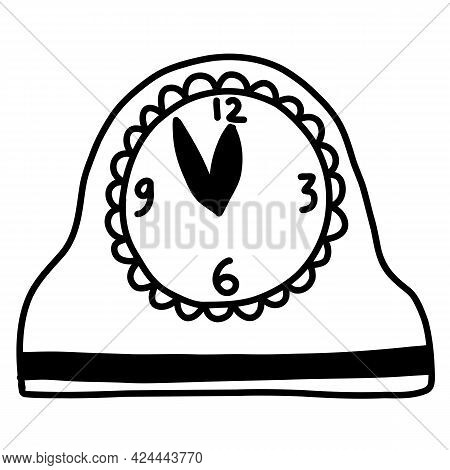 Hand Drawn Doodle Clock At Midnight. New Year Vector Illustration