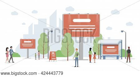 City Advertising Vector Flat Illustration. Urban Cityscape With Billboards And Banners. Business, Co