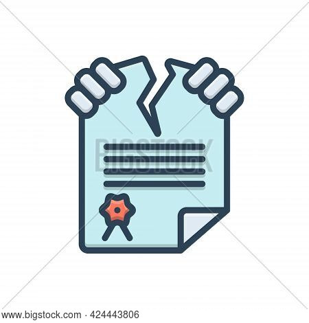 Color Illustration Icon For Infringement Violation Breach Contravention Outrage