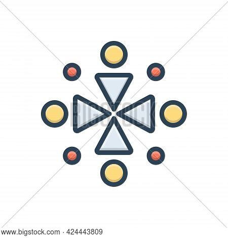 Color Illustration Icon For Ingathering Gathered Conjunct United Aggregate Collected