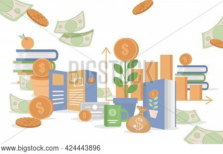 Financial Growth, Business Investment, Management And Money Savings Vector Flat Illustration. Green