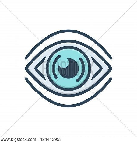 Color Illustration Icon For See Discern Scrutinize Sight Vision Observation