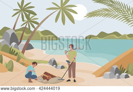 Archeologists Finding Treasure On Sandy Beach Vector Flat Illustration. Excited Men With Archeologic