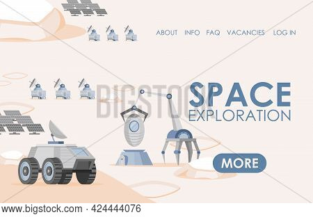 Space Exploration Landing Page Template With Text Space. Solar Panels, Rovers, And Scientific Resear