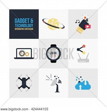 Set Modern Flat Design Gadget Technology Icons Vector. Flat Design Gadgets Technology Icon For Infog